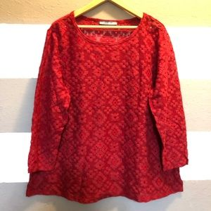 signature weekend Tops - Signature weekend - lace long sleeve top - red 1X